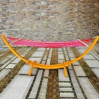 Wooden Arc Hammock Stand with Colorful Hammock