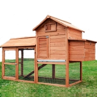 Pawhut Deluxe Backyard Wood Chicken Coop Hen House w/ Outdoor Run - 5663-1319