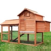 Pawhut Deluxe Backyard Wood Chicken Coop Hen House w/ Outdoor Run - 5663-1319