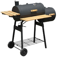 Charcoal BBQ Grill Offset Smoker Combo With Wheels