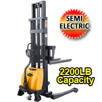 "Semi-Electric Straddle Stacker - 2200Lbs Cap. - 63""/98""/118"" Lifting - CTD10B-III"