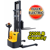 "Apollo Fully Electric Powered Straddle Stacker 2200lbs Capacity - 98""/118"" lifting - CTD10R-E"