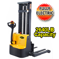 "Apollo Fully Electric Powered Straddle Stacker 2640lbs Capacity - 98""/118"" lifting - CTD12RE"
