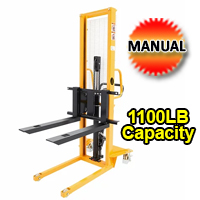 "Manual Lift Table W/Adjustable Fork - 1100lbs Capacity- 63"" lifting height - SDJA500"