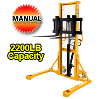 "Manual Lift Table Straddle legs - 2200lbs Capacity - 63"" lifting height