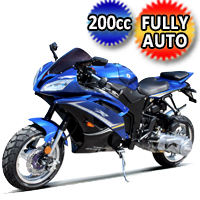 200cc Wasp Gas Motorcycle With CVT Auto Trans & Aluminum Wheels - Model: DF200SST