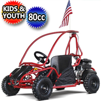 80cc Kids Go Kart Gas Youth Dune Buggy w/ Roll Cage & Disc Brakes - SOLO 80GKS