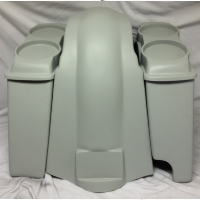 "Harley Davidson Heritage Softail 4"" Extended Saddlebags Dual 6.5"" Speaker Lids + Fender Right Cutout"