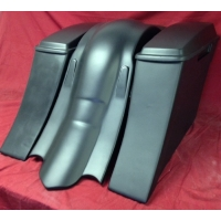 "Harley Davidson 6"" Extended Saddlebags Out & Down Bags + Lids & Custom Rear Fender No Cut Outs"