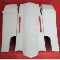 "Harley Davidson 6"" Extended Stretched Saddlebags Out & Down Bags + Lids & Custom LED Lights Fender"