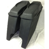 "Harley Davidson 4"" Extended Saddlebags + 6 x 9 Speaker Lids With Cut Outs"