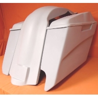 "Harley Davidson 5"" Stretched Extended Saddlebags With Right Cut Out - Fender + 6x9 Speaker Lids"