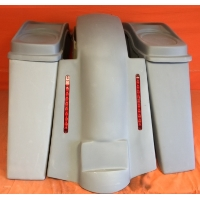 """Harley Davidson 4"""" Extended Stretched Saddlebags + Dual 6 x 9 Speaker Lids & Replacement LED Fender 09 - 13 - No Cut Outs"""