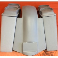 "Harley Davidson 4"" Extended Stretched Saddlebags + Dual 6.5"" Speaker Lids & Replacement Fender 09 - 13 - No Cut Outs"