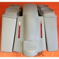 "Harley Davidson 4"" Extended Stretched Saddlebags + Dual 6.5"" Speaker Lids & Replacement LED Fender 09 - 13 - No Cut Outs"
