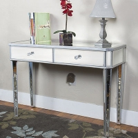Mirrored Console Table Vanity Desk Mirror Glam 2 Drawers Home Furniture