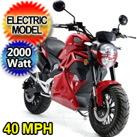 New 2000 Watt Electric Motorcycle Moped Scooter - BD581Z 2000W
