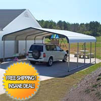 18' x 21' x 6' Standard Eco-Friendly Steel Carport - Installation Included