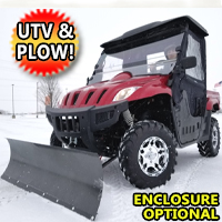 500cc UTV With Snow Plow ATV Utility Vehicle Ranch Pony Snow Blaster