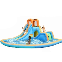 Cascade Water Slides with Large Pool