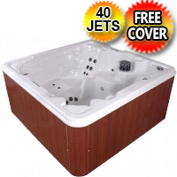 Day Dreamer 7 Person Wraparound Lounger Hot Tub Spa w/ 40 Therapeutic Jets