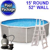 "Belize 15' Round 52"" Steel Wall Above Ground Swimming Pool Package w/ 6-in Top Rail"