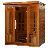 3-4 Person Cedar Elite Premium Infrared Sauna w/ 9 Carbon Heaters - SA1315