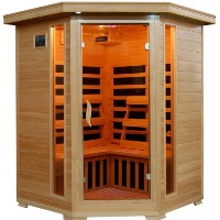 3 Person Santa Fe Hemlock FAR Infrared Sauna With Carbon Heaters - Corner Unit