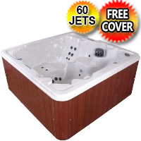 Tranquility 7 Person Wraparound Lounger Hot Tub Spa w/ 60 Therapeutic Jets
