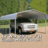 12'W x 29'L x 7'H Classic Metal Carport