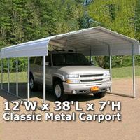 12'W x 38'L x 7'H Classic Metal Carport