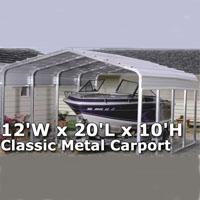 12'W x 20'L x 10'H Classic Metal Carport