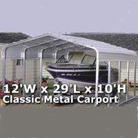 12'W x 29'L x 10'H Classic Metal Carport
