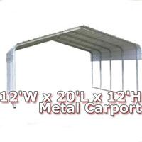 12'W x 20'L x 12'H Classic Metal Carport