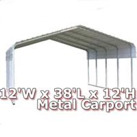 12'W x 38'L x 12'H Classic Metal Carport