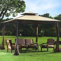 High Quality 10' x 10' Bamboo Design Frame Gazebo with Mosquito Netting