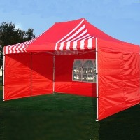 Brand New 10' x 15' Red & White Striped Pop Up Party Tent