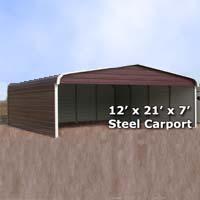 12' x 21' x 7' Steel Carport Garage Storage Building w/ Sides - Installation Included