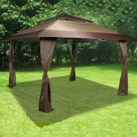 High Quality 13' x 13' Brown Easy Pop Up Tent / Gazebo