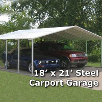 18' x 21' x 6' Steel Carport Garage Storage Building - Installation Included