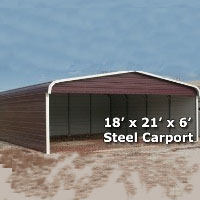 18' x 21' x 6' Steel Carport Garage Storage Building w/ Sides - Installation Included