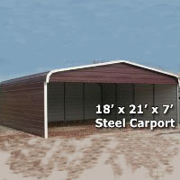 18' x 21' x 7' Steel Carport Garage Storage Building w/ Sides - Installation Included
