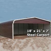 18' x 21' x 7' Steel Carport Garage Storage Building w/ Sides - Installation Included