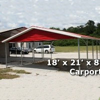 18' x 21' x 8' Two Bay Steel Carport Garage Storage Building - Installation Included