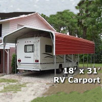 18' x 31' Steel Metal RV Carport Storage Cover w/ Extra Panels - Installation Included