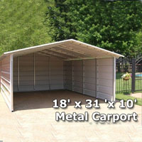 18' x 31 'x 10' Metal Carport & RV Cover with Side Walls - Installation Included