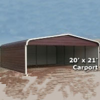 20' x 21' Metal Carport Cover with 3 Sides - Installation Included