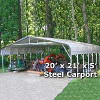 20' x 21' x 5' Steel Carport Garage Storage Building - Installation Included