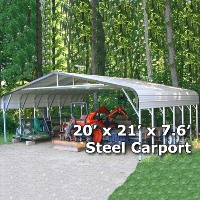 20' x 21' x 7.6' Steel Carport Garage Storage Building - Installation Included