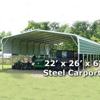 22' x 26' x 6' Steel Carport Garage Storage Building - Installation Included